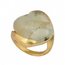 Square Shape Prehnite Chalcedony Gemstone 925 Silver Gold Plated Ring