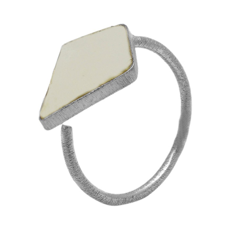 Fancy Shape Rainbow Moonstone 925 Sterling Silver Gold Plated Ring Jewelry
