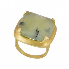 925 Sterling Silver Square Shape Prehnite Chalcedony Gemstone Ring Jewelry