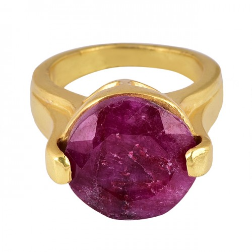 Round Shape Ruby Gemstone 925 Sterling Silver Gold Plated Ring Jewelry
