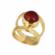 Cabochon Round Shape Carnelian Gemstone 925 Silver Gold Plated Ring