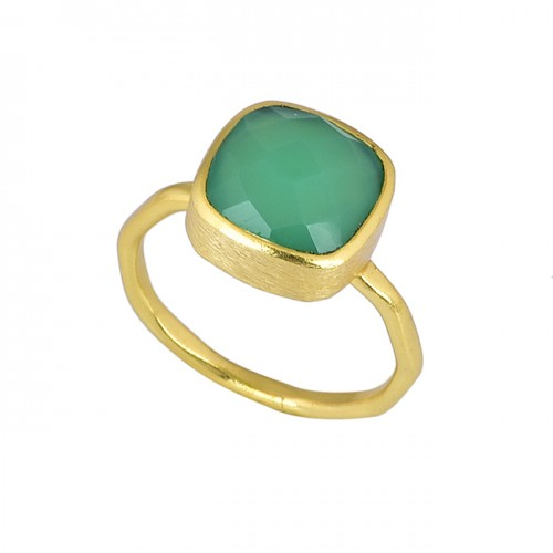 925 Sterling Silver Cushion Shape Green Onyx Gemstone Gold Plated Ring