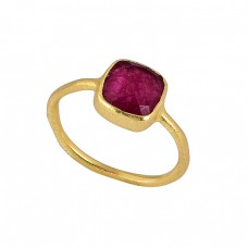 Faceted Square Shape Ruby Gemstone 925 Sterling Silver Gold Plated Ring
