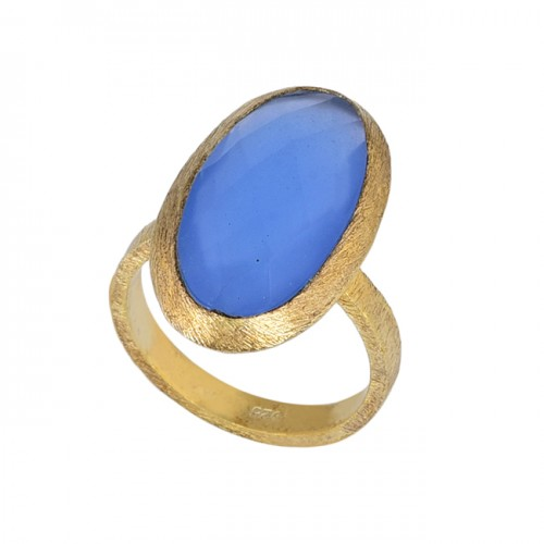 Blue Chalcedony Oval Shape Gemstone 925 Sterling Silver Gold Plated Ring