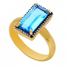 Blue Quartz Cz Gemstone 925 Sterling Silver Gold Plated Cocktail Ring
