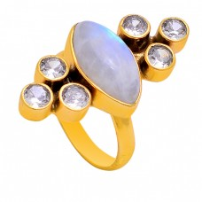 Moonstone Cz Gemstone 925 Sterling Silver Gold Plated Designer Ring