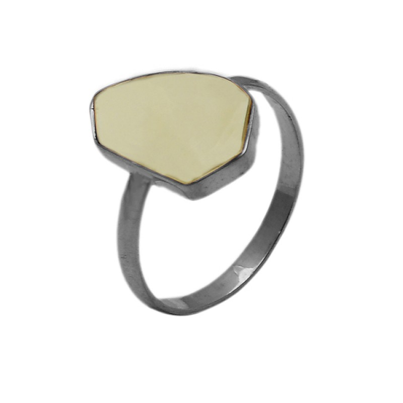 925 Sterling Silver Fancy Shape Rainbow Moonstone Gold Plated Ring Jewelry