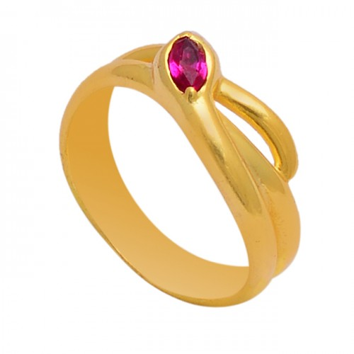 Marquise Shape Pink Quartz Gemstone 925 Sterling Silver Gold Plated Ring