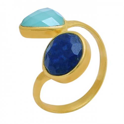Sapphire Chalcedony Gemstone 925 Sterling Silver Gold Plated Band Ring