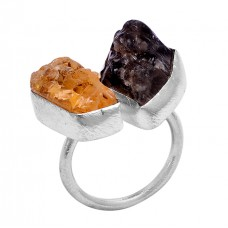 Raw Material Citrine Smoky Quartz Rough Gemstone 925 Silver Ring Jewelry