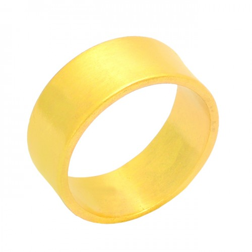 Handmade Plain Designer 925 Sterling Silver Gold Plated Ring Jewelry