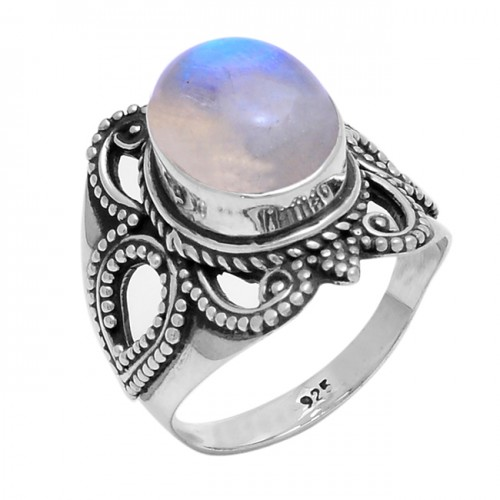 Cabochon Oval Shape Moonstone 925 Sterling Silver Handmade Ring