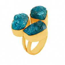 925 Sterling Silver Apatite Rough Gemstone Gold Plated Handmade Designer Ring