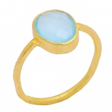 Faceted Oval Shape Aqua Chalcedony Gemstone 925 Silver Gold Plated Ring