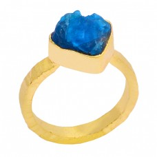 Raw Material Apatite Rough Gemstone 925 Sterling Silver Gold Plated Ring