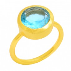 Faceted Round Shape Blue Topaz Gemstone 925 Silver Gold Plated Ring