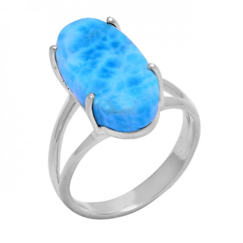 Oval Shape Larimar Gemstone 925 Sterling Silver Prong Setting Ring
