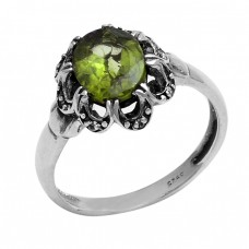 Oval Shape Peridot Gemstone 925 Sterling Silver Designer Ring Jewelry