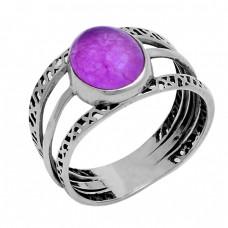 Cabochon Oval Shape Amethyst Gemstone 925 Sterling Silver Designer Ring