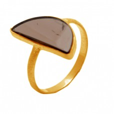 925 Sterling Silver Smoky Quartz Fancy Shape Gemstone Gold Plated Ring Jewelry