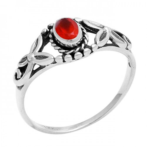 Faceted Oval Shape Red Onyx Gemstone 925 Sterling Silver Ring Jewelry