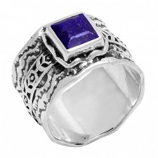 Square Shape Blue Sapphire Gemstone 925 Sterling Silver Ring Jewelry