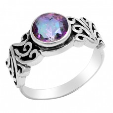 Faceted Round Shape Mystic Topaz Gemstone 925 Sterling Silver Ring Jewelry