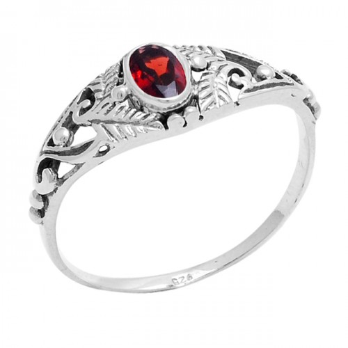 Faceted Oval Shape Garnet Gemstone 925 Sterling Silver Ring Jewelry