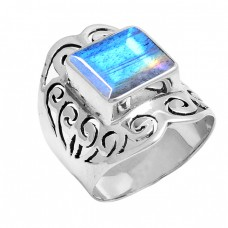 Faceted Square Shape Labradorite Gemstone 925 Sterling Silver Ring