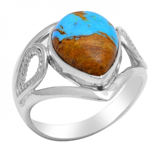 Cabochon Pear Shape Turquoise Gemstone 925 Sterling Silver Ring Jewelry