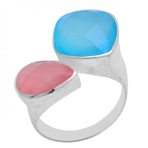 Rose Aqua Color Chalcedony Gemstone 925 Sterling Silver Designer Ring