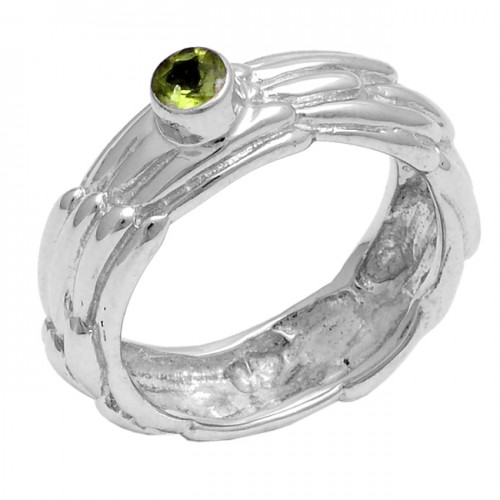 Faceted Round Shape Peridot Gemstone 925 Sterling Silver Ring Jewelry