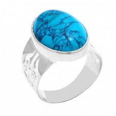 Cabochon Oval Shape Turquoise Gemstone 925 Sterling Silver Ring Jewelry