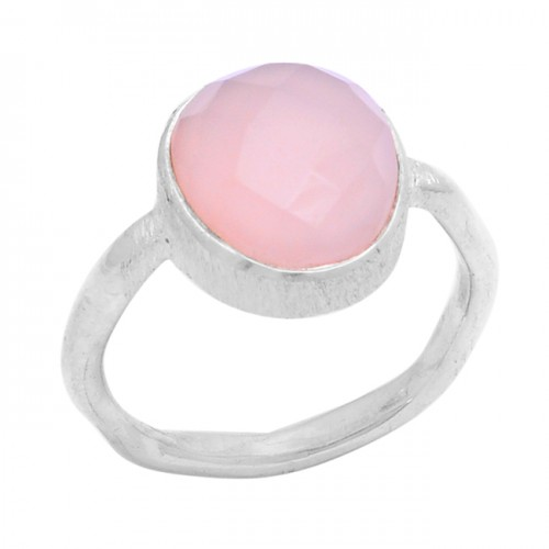 Oval Shape Rose Chalcedony Gemstone 925 Sterling Silver Ring Jewelry