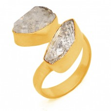 Herkimer Diamond Rough Gemstone 925 Sterling Silver Gold Plated Ring Jewelry