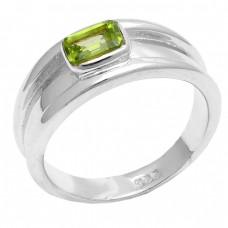 Rectangle Shape Peridot Gemstone 925 Sterling Silver Designer Ring