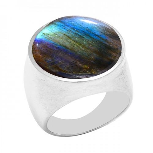 Round Shape Labradorite Gemstone 925 Sterling Silver Designer Ring