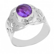 925 Sterling Silver Oval Shape Amethyst Gemstone Handmade Ring