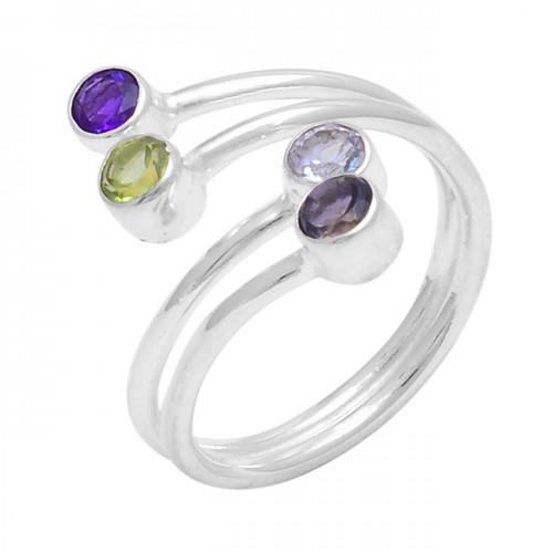 Round Shape Amethyst Peridot Topaz Sapphire Gemstone 925 Silver Ring