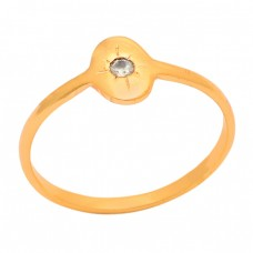 Round Shape Crystal Quartz 925 Sterling Solid Silver Gold Plated Ring