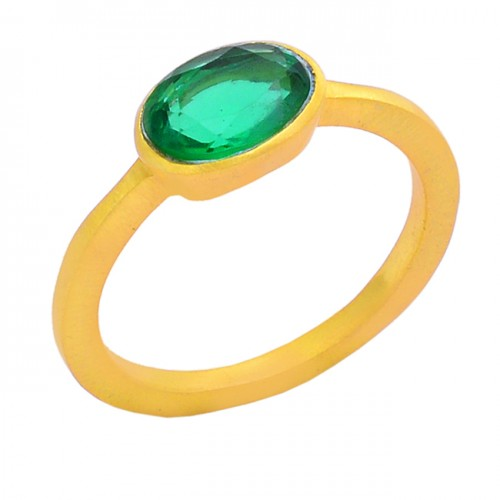 Faceted Oval Shape Apatite Quartz Gemstone 925 Silver Gold Plated Ring