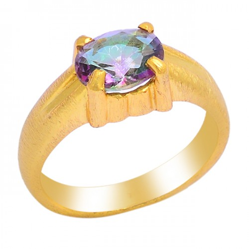 Faceted Oval Shape Mystic Topaz Gemstone 925 Silver Gold Plated Ring