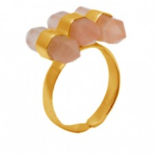 Pencil Shape Rose Quartz Gemstone 925 Sterling Silver Gold Plated Adjustable Ring