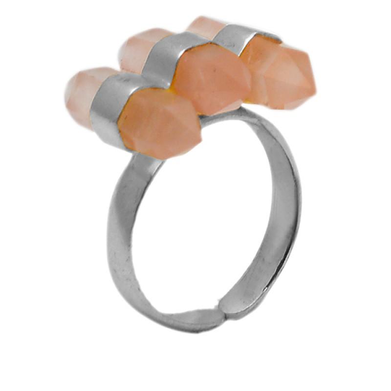 Pencil Shape Rose Quartz Gemstone 925 Sterling Silver Gold Plated Adjustable Ring