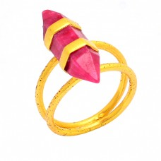 Pencil Shape Ruby Gemstone 925 Sterling Silver Gold Plated Ring Jewelry