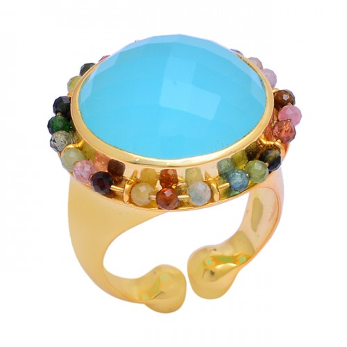 Chalcedony Tourmaline Beades Gemstone 925 Silver Gold Plated Ring
