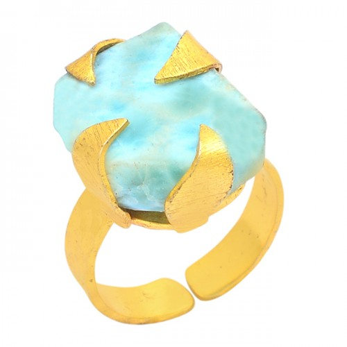 Rectangle Shape Larimar Gemstone 925 Sterling Silver Gold Plated Ring