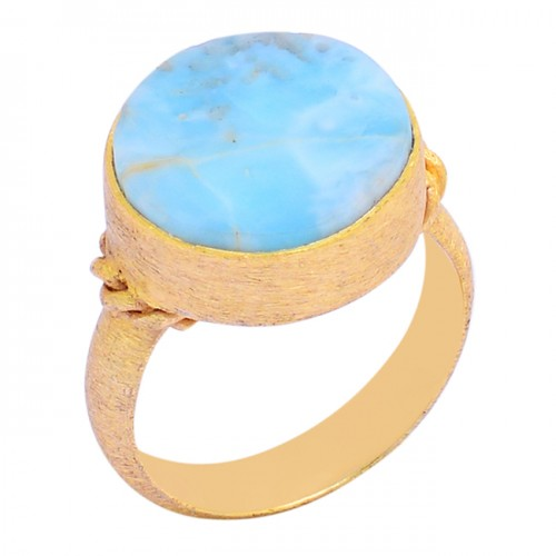 Round Shape Larimar Gemstone 925 Sterling Silver Gold Plated Ring