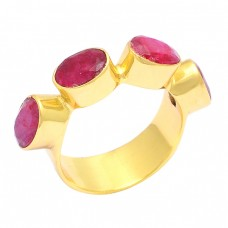 Oval Shape Ruby Gemstone 925 Sterling Silver Gold Plated Designer Ring