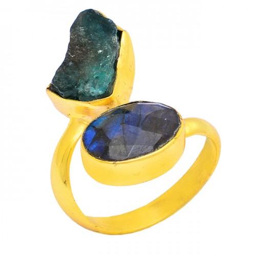 Apatite Rough Labradorite Gemstone 925 Silver Gold Plated Handmade Ring